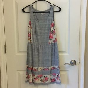 Sleeveless striped and floral dress.